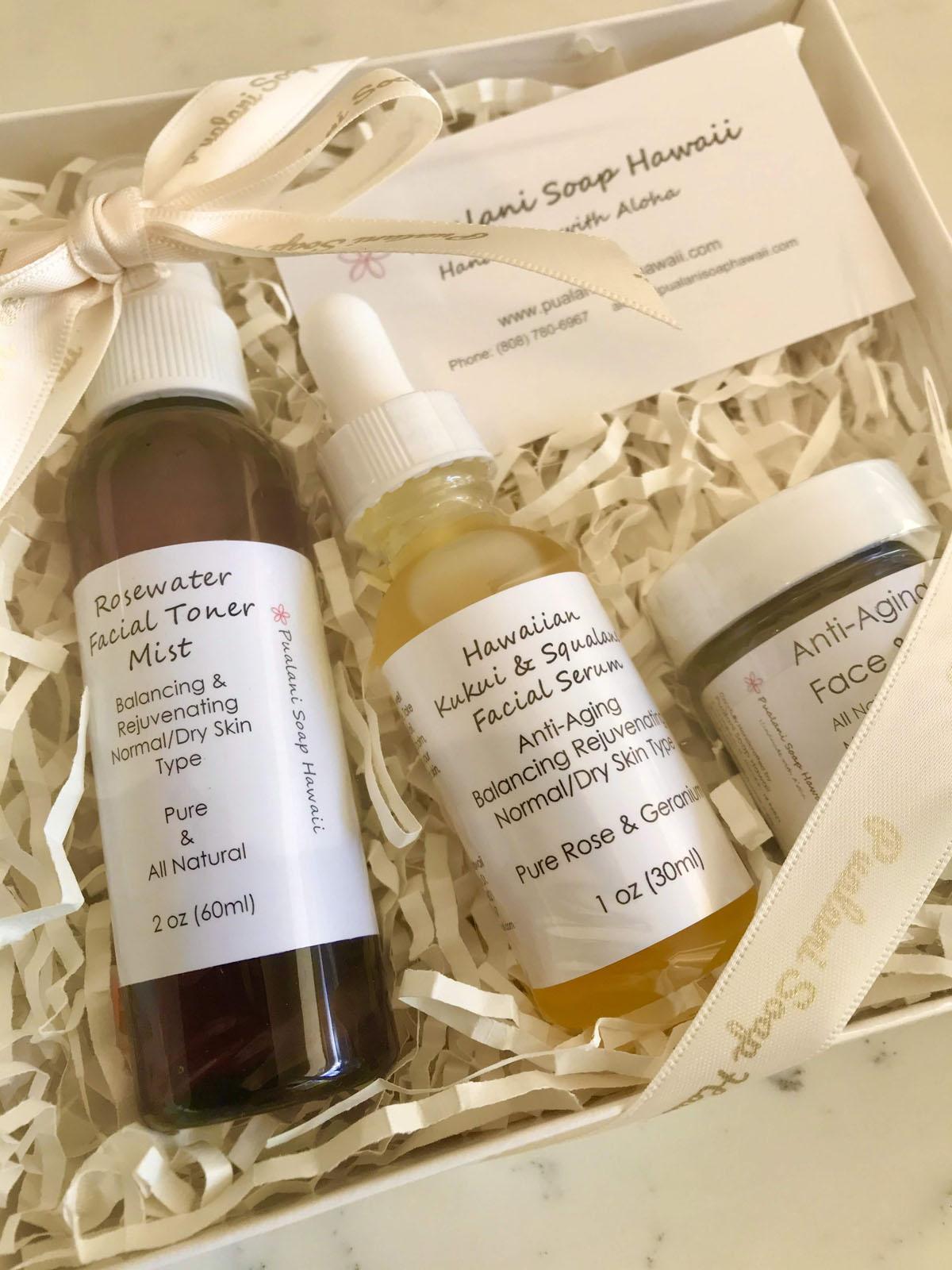 Anti Aging Natural Skincare Gift Set Pualani Soap Hawaii